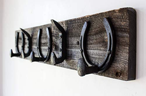 - Vintage Rustic Coat Rack –Authentic Barn Wood Hanger Rack for Towels, Clothes, Hats, Bags–Antique Door & Wall Mounted 5-Hook Rail (Horseshoe & Railroad Spike Hook - 32