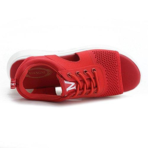 Sandals T Soft Red JULY Slippers Dressy Heels Slip Wedge Walking Slide Girls Ladies Mesh Breathable for Women on 11zwRrq