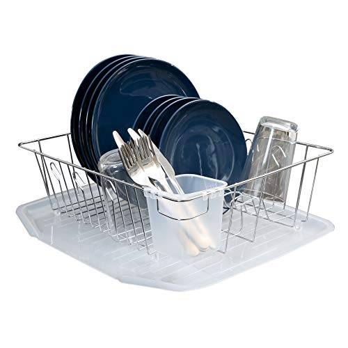 Smart Design Dish Drainer Rack w/ Cutlery Cup & Plate Dividers - Large - Steel Wire Frame - for Dishes, Cups, Silverware Organization - Kitchen (17.5 x 5.5 Inch) [Chrome] ()