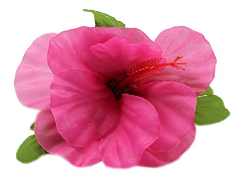 Hawaii Luau Party Artificial Fabric Single Large Hibiscus Hair Clips Pink