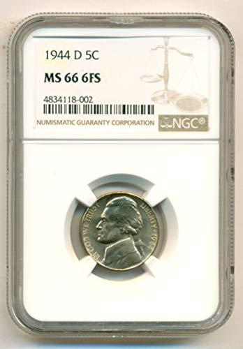 1944 D Jefferson Silver Nickel MS66 6FS NGC (Mint Nickel Jefferson Ngc)