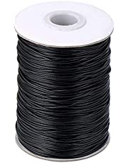 Quesuc Waxed Cotton Cord Imitation Leather Thread Braided Waxed String, Black (160 Meters, 1 mm Diameter)