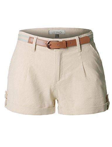LE3NO Womens Casual Summer Linen Shorts With Removable Belt (Shorts Khaki Women)
