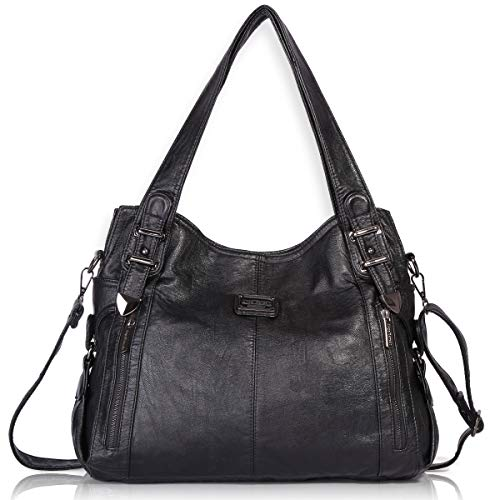 Angel Barcelo Womens Fashion Handbags Tote Bag Cross Body Shoulder Bag Top Handle Satchel Purse Black Black Satchel Bag Purse