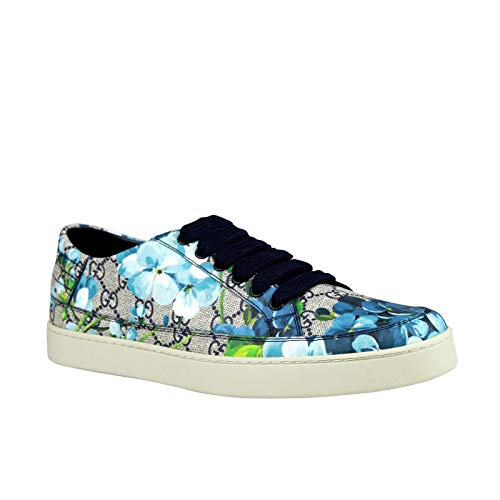 Gucci Men's Bloom Flower Print Blue Supreme GG Canvas Sneaker Shoes 407343 8470 (7.5 G / 8.5 US)