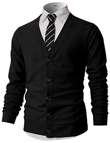 H2H Men¡¯s Relax Fit V-Neck Cardigan Cashmere Wool Blend Button Down with Pockets Black US L/Asia XL (KMOCAL0183) (Ribbed Wool Blend)