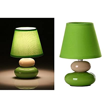 dcasa - Lámpara para mesita de noche pop verde de cerámica para dormitorio Arco Iris