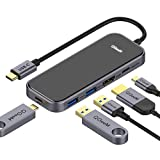 USB C HUB Adapter, QGeeM 5-in-1 USB Dongle with 4K USB C to HDMI, 2 USB 3.0, 1 USB C to USB 3.0, USB-C 100W PD Charger for MacBook Pro 2019/2018 IPad Pro, Chromebook, XPS,Type-C Adapter
