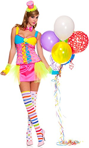 ToBeInStyle Women's Clown Tutu Dress Includes: Gloves, Hat And Thigh Hi - Xs