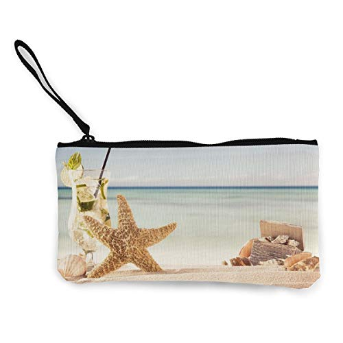 YUANSHAN Starfish Cocktail Sand Stemware Unisex Canvas Coin Purse Change Cash Bag Zipper Small Purse Wallets with Handle