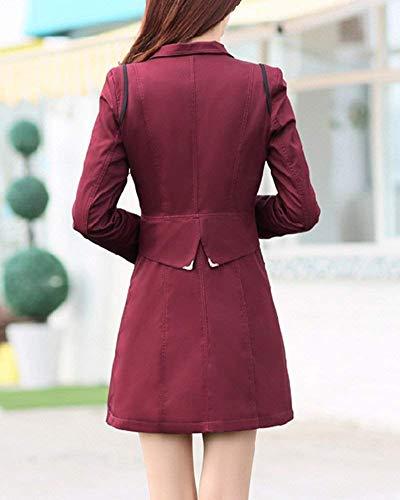 Slim Avant Coupe Poches Fit Hiver Femme Parker Costume Revers Boutonnage Manteaux Double Branch Manches Longues Vent nRxfqqwU