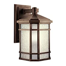 Kichler Lighting 9720PR Cameron 1-Light Incandescent Outdoor Wall Mount, Prairie Rock with White-Etched Linen Glass, 18-Inch