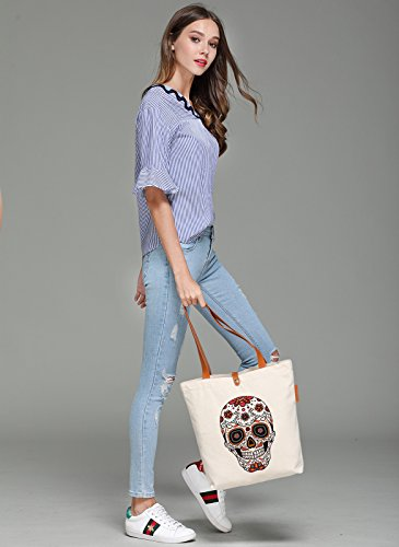 So'each Women's Floral Skull Graphic Top Handle Canvas Tote Shoulder Bag