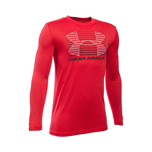 Under Armour Boys' Breakthrough Logo Long Sleeve T-Shirt, Red/Black, Youth Large