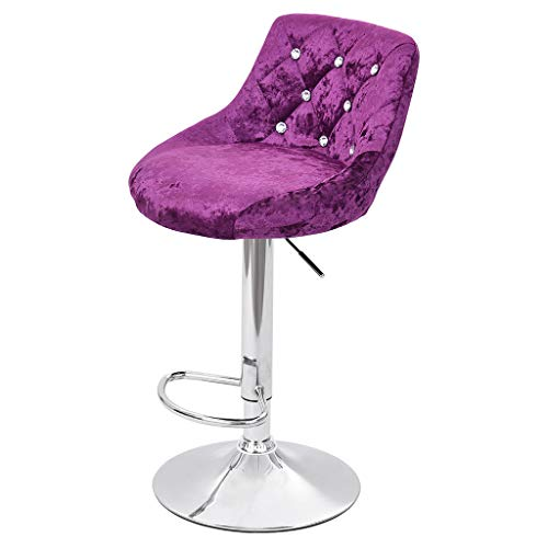 Iusun 2PCS Flannel Swivel Stool by Leopard Counter Rolling Chair Bar Adjustment Height Office Seat Salon Cushion Seat for Beauty Home Living Room Kitchen - Ship from USA (Purple)