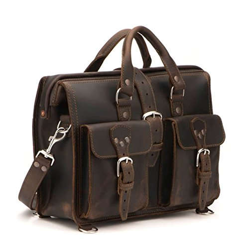 o. Flight Bag 15-inch Full Grain Leather Expandable Laptop Briefcase for Men Includes 100 Year Warranty ()