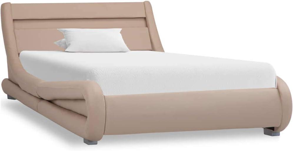 Kunstlederbett mit Matratze Polsterbett Jugendbett Lattenrost 90x200cm Weiß
