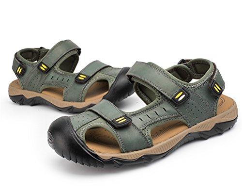 Playa Senderismo de Hombres Sandalias Sandalias Gray Exterior Verano de Cuero Para qZOOz4