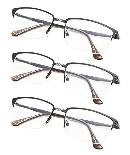 Half-rim Brushed Metal Eyeglasses with Spring Hings 3-Pack Without Strength - Metal Eyeglasses Rim