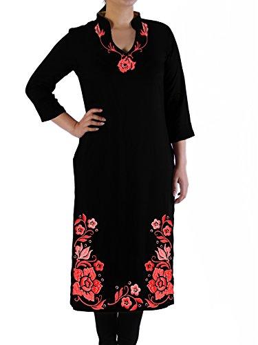 ilk Tunic Rose Embroidered Hem (Black, XXS) ()