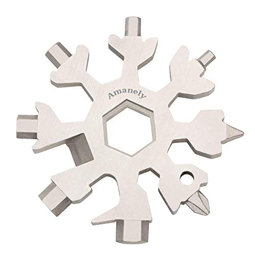 Amanely 19-in-1 Stainless Snowflake Multi-Tool, Outdoor Portable Keychain Screwdriver -Bottle Opener for Christmas Gift for Mens