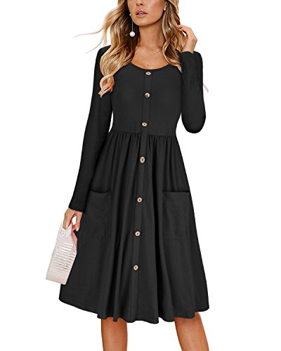 KILIG Women's Dresses Long Sleeve Casual Button Down Swing Midi Dress with Pockets(Black, (Knee Length Dress)