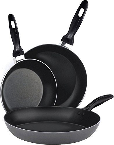 Utopia Kitchen Aluminum Nonstick Frying Pan Set - (3-Piece 8 Inches, 9.5 Inches, 11 Inches) - Fry Pan/Frying Pan Cookware Set - Dishwasher Safe