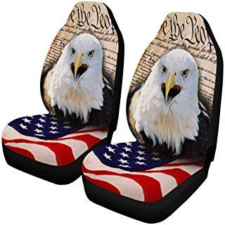 INTERESTPRINT Bald Eagle and American Flag Car Seat Cover Front Seats Only Full Set of 2, Universal fit for Vehicles, Sedan and Jeep... (Eagles Truck Seat Covers)