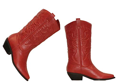 MVE Shoes Women's Western Cowboy Pointed Toe Knee High Pull On Tabs Boots red -