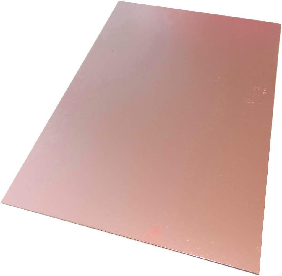 AERZETIX Plaque Planche Feuille en cuivre pour Circuit imprim/é 297//210//0.6mm 18/µm r/ésine epoxy Fibre de Verre C40724