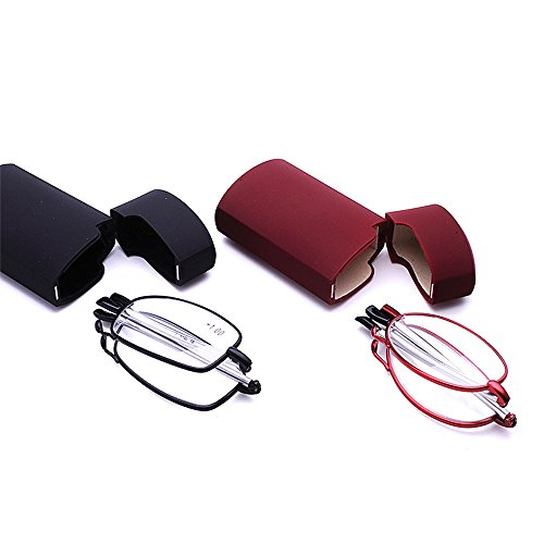 Unisex Folding Portable 2 Pairs of Black and Red Metal Reading Glasses with Mini Flip Top Case (1.0X)