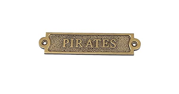 Amazon.com: Latón envejecido Piratas Sign – Vintage pirata ...