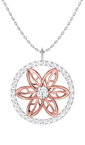 Diamondere Natural and Certified Diamond Floral Necklace in 14k Rose and White Gold | 0.23 Carat I1-I2 Quality Pendant with ()