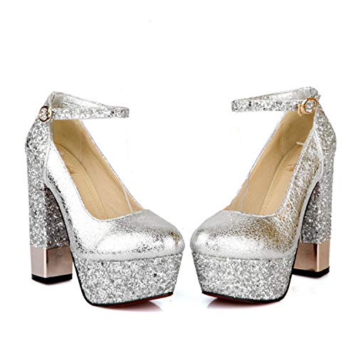 latform Pumps Sexy High-Heeled Shoes Heels Round Toe Platform Shoes Women's Wedding Prom Shoes Size32-43 Heel 13cm Silver 9.5 ()
