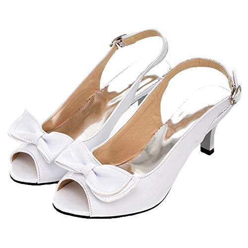 - Vitalo Womens Peep Toe Kitten Heel Slingback Pumps with Bows Sandals Size 8.5 B(M) US,White
