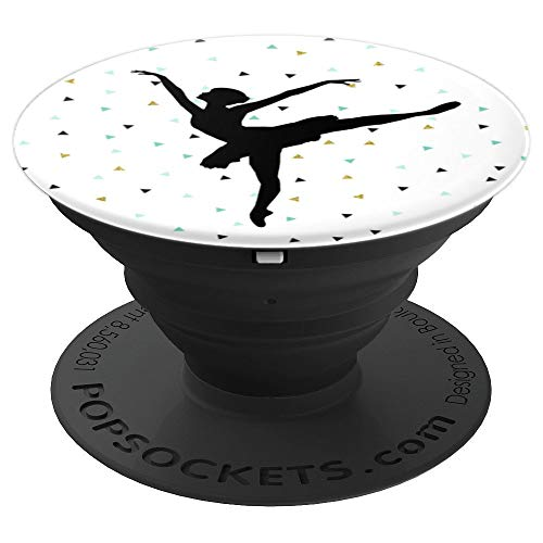 Ballet Silhouette Ballerina Dance Love Black Teal Confetti - PopSockets Grip and Stand for Phones and Tablets (Will Match)