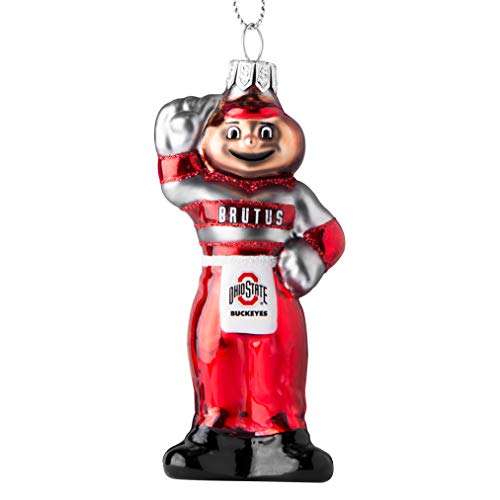 Glass Mascot Football Ornament - Topperscot Ohio State Buckeyes Official NCAA Mascot Holiday Christmas Blown Glass Ornament 864402