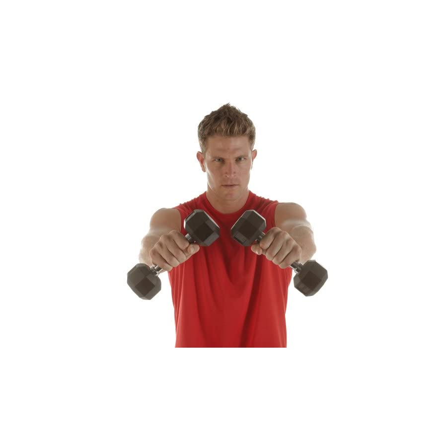 SPRI Dumbbells Hand Weights Deluxe Rubber Encased Chrome Handle All Purpose Dumbbell (Available in 3, 5, 8, 10, 12, 15, 20, 25, 30, 35, 30, 45, 50 Pounds)