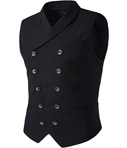 Mens Vest Fashion Slim Fit Double-breasted Solid Vest