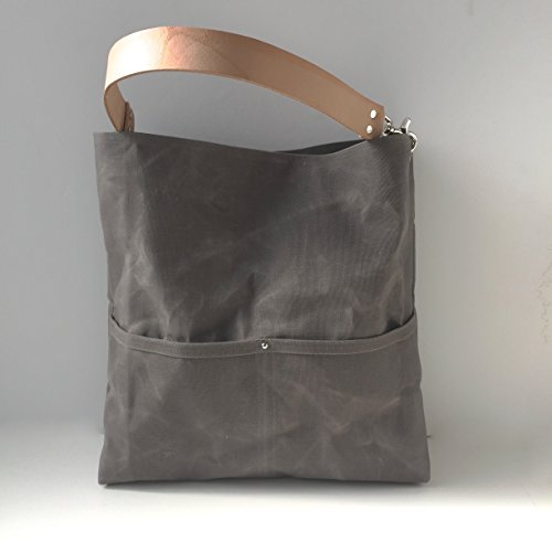 Gray Waxed Canvas Bucket Bag by Independent Reign - New York