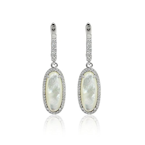 Accent Halo Dangle Drop Bridal Earrings Simulated Round Pave Cubic Zirconia Oval MoonStone 925 Sterling Silver