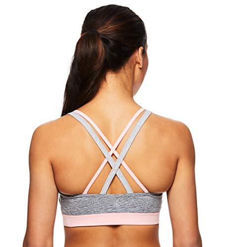 Gaiam Women's Strappy Wireless Sports Bra - Medium Impact Racerback Workout & Yoga Bralette - Coral Glow Pink, Large
