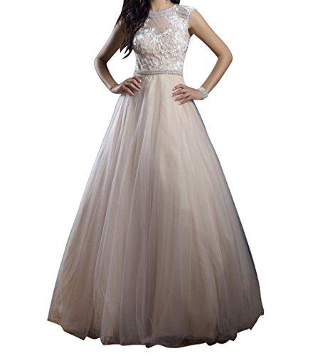 La Lang Partykleider Festlichkleider Beige Prinzess Abendkleider Spitze mia Linie Braut Festlichkleider A Wunderschoen Ballkleider rwqIrA6