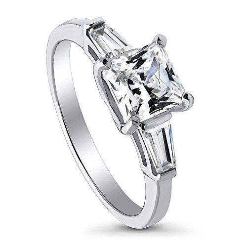 BERRICLE Rhodium Plated Sterling Silver Princess Cut Cubic Zirconia CZ 3-Stone Anniversary Promise Engagement Ring 1.74 CTW Size 6