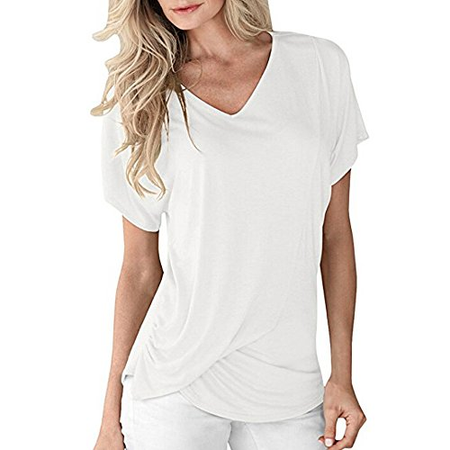 (Womens V-Neck Short Sleeve Tops Draped Fashion Sexy Holiday Plain Ruched Casual T-Shirts Comfy Summer Tee Blouse V Neck White)