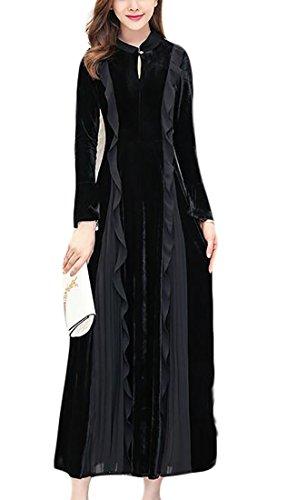 Jaycargogo Manches Longues Élégante Femme Velours Froissée Extensible Noir Robe Longue
