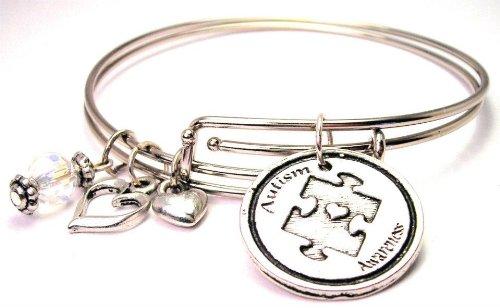 Autism Awareness Adjustable Wire Bangle Charm Bracelet