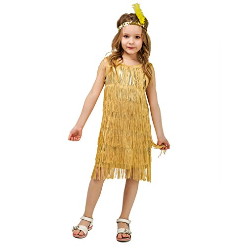 DSplay Kids Girl's Fashion Flapper Satin Dress Costume (S, Gold) -
