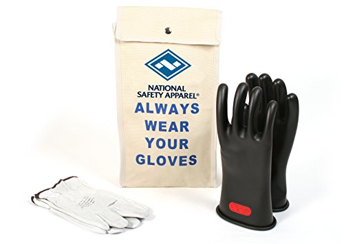 National Safety Apparel Class 0 Black Rubber Voltage Insulating Glove Kit with Leather Protectors, Max. Use Voltage 1,000V AC/ 1,500V DC (Use Rubber)