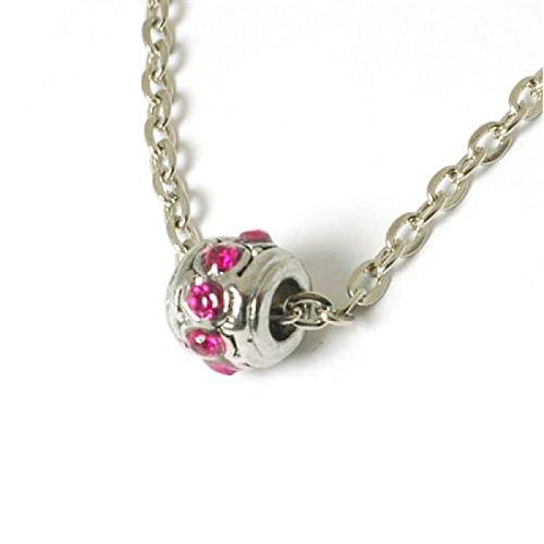 PB97 - Perle Sertie de Cristal Rose Brillant sur une Chaîne de 45cm